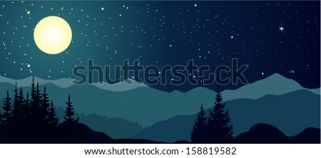 Vector night landscape with mountains and full moon. - stock vector