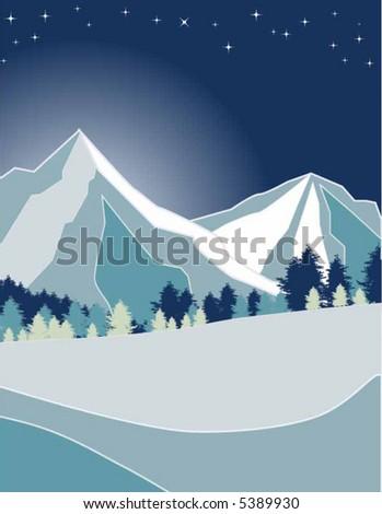 vector - night mountain - stock vector