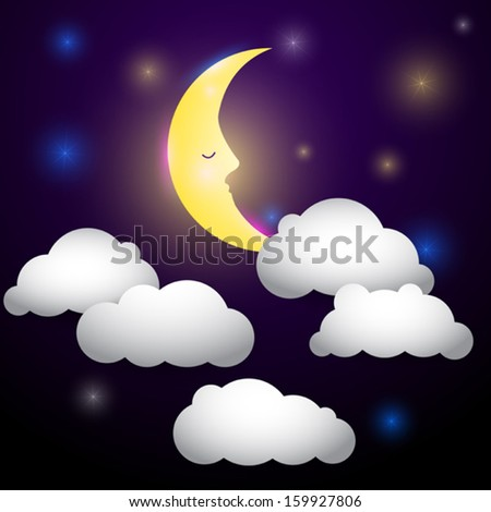 Vector night sky with moon, fairy tale illustration