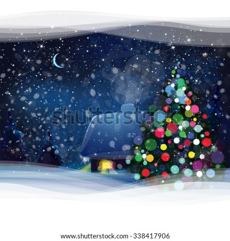 Vector night winter landscape with house, Christmas tree and forest background, Christmas card. - stock vector