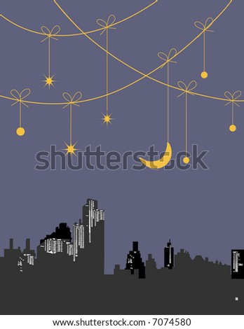 vector - night with stars holding by a string - stock vector