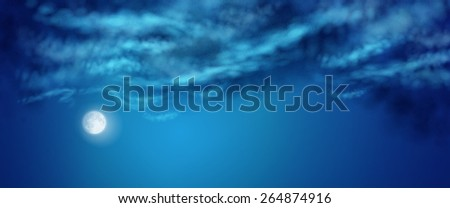 Vector nightly dramatic blue landscape with cumulus clouds and moon - stock vector