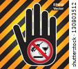 Vector : No Drug Prohibited Sign Present By Hand With No Drug Sign Inside in Caution Zone Dark and Yellow Background - stock photo