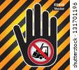 Vector : No Forklift Prohibited Sign Present By Hand With No Forklift Working Sign Inside in Caution Zone Dark and Yellow Background - stock vector