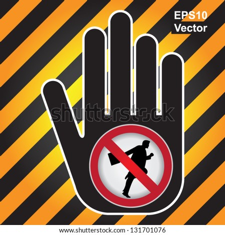 Vector : No Running Prohibited Sign Present By Hand With No Businessman Running Sign Inside in Caution Zone Dark and Yellow Background - stock vector