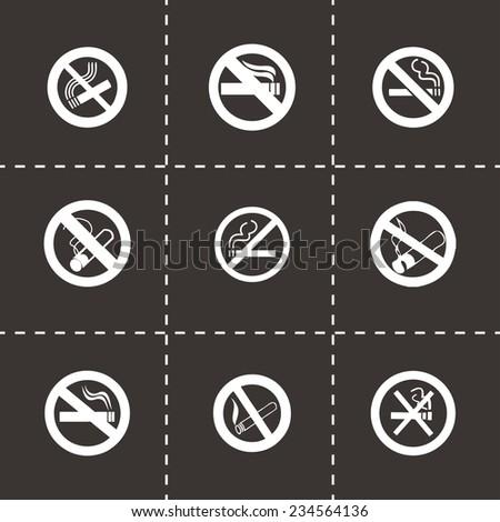 Vector no smoking icon set on black background - stock vector