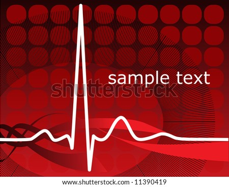Vector normal ecg red background, heartbeat. Great for scientific, medical purposes. - stock vector