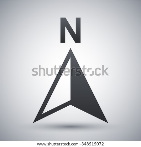 Vector north direction compass icon - stock vector