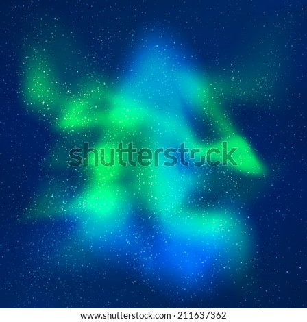 Vector northern lights background. Skyline with many stars and aurora effect. Very buatiful compositon. green, aquamarine and blue colors - stock vector