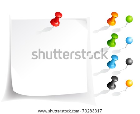 Vector note paper and pins in various colors - stock vector