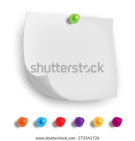 Vector note Paper with pin on white background, vector illustration - stock vector
