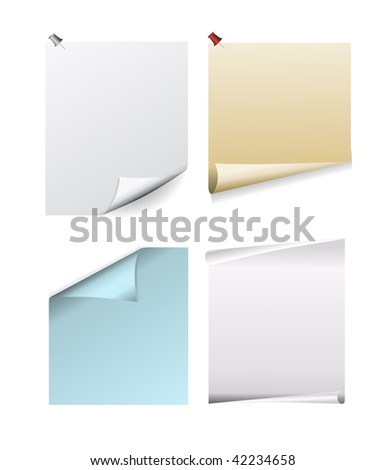 vector note paper with pins