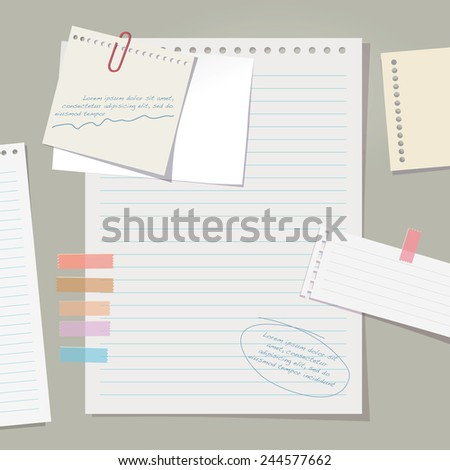 Vector note papers collection.  - stock vector