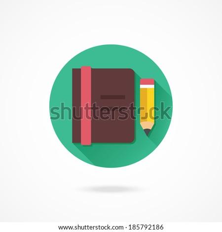 Vector Notebook and Pencil Icon - stock vector