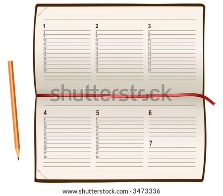 vector notebook end pencil - stock vector