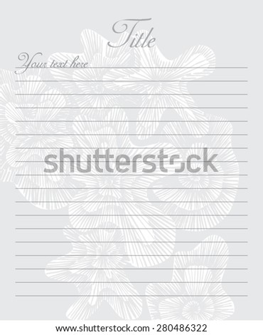 Vector notebook pad. Sheet of notepad paper, textures, swirled background. - stock vector