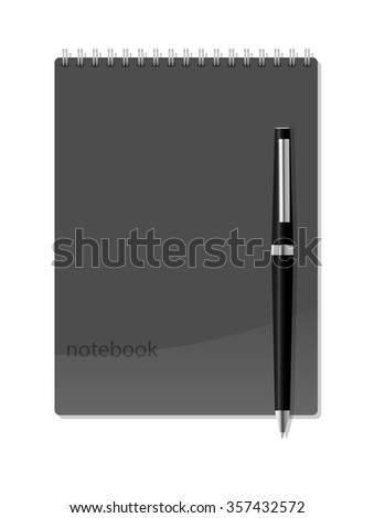 Vector notebook with pen