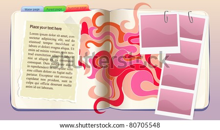 Vector notebook with summer ornament in red and orange colors - stock vector