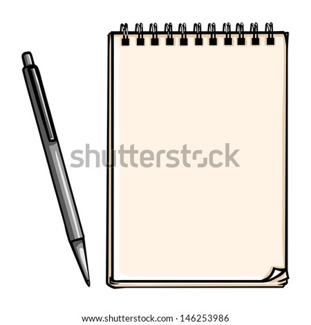 vector notepad and pen - stock vector