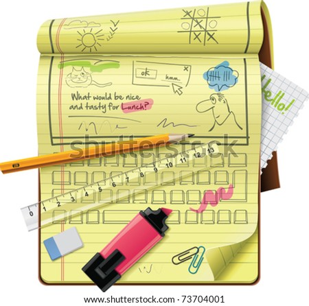 Vector notepad features XXL detailed icon - stock vector