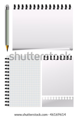 vector notepad paper with pencil - stock vector
