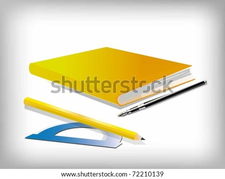 vector notepad with a pencil and ruler - stock vector
