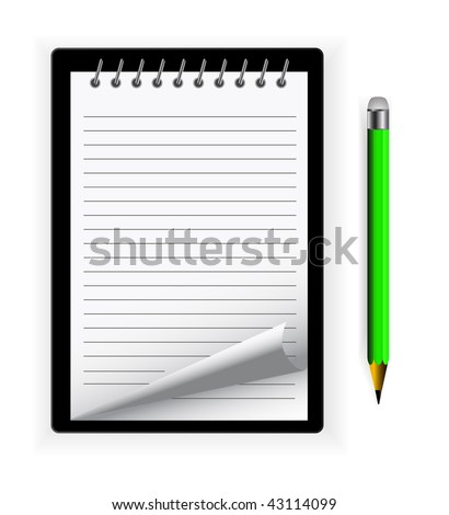 vector notepad with pencil and curl - stock vector