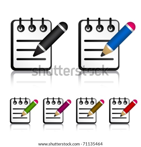 vector notepad with pencil icons - stock vector