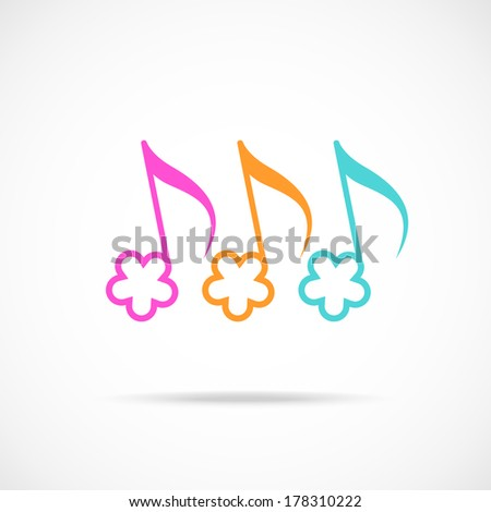 Vector notes in shape of color flower. Musical icon with concept of summery merry melody. Decorative sign for print, web - stock vector