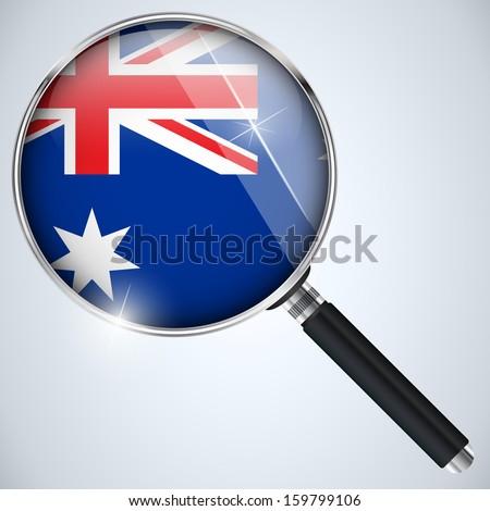 Vector - NSA USA Government Spy Program Country Australia - stock vector