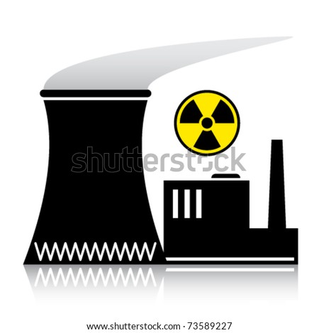 vector nuclear power plant silhouette - stock vector
