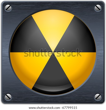 Vector nuclear sign on dark metal plate - stock vector