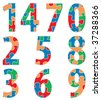 vector numbers made of puzzle, easy change colors - stock photo