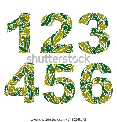 Vector numeration decorated with seasonal green leaves, 1, 2, 3, 4, 5, 6. Vintage ornamental numbers. - stock vector