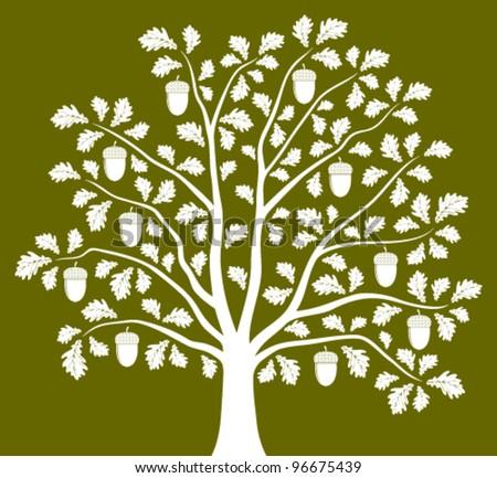 vector oak tree on green background - stock vector