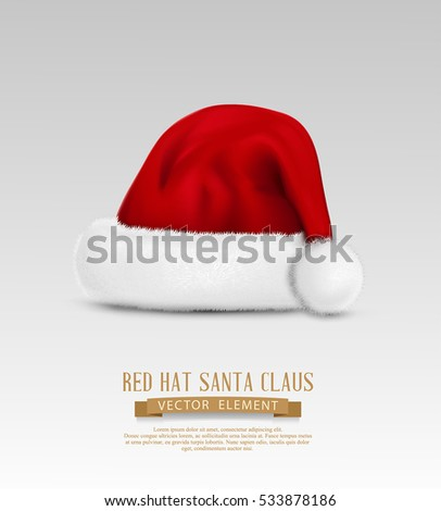 vector object: a red cap of Santa Claus, isolated on a gray background