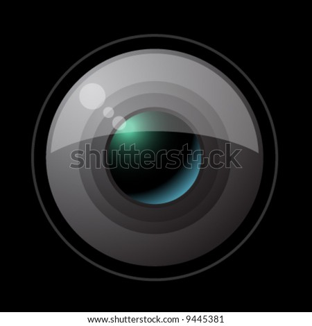 vector objective lens - stock vector