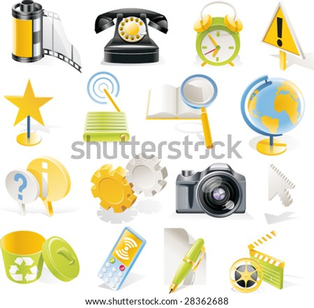 Vector objects icons set. Part 3 - stock vector