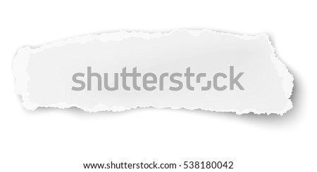 Vector oblong ragged paper scrap isolated on white background.