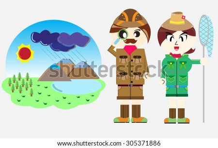 Vector Occupation Ecologist male and female