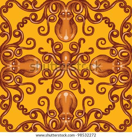 Vector octopus background - stock vector