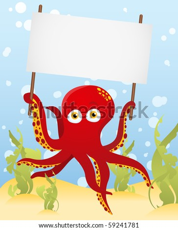 Vector. Octopus holding blank sign - stock vector