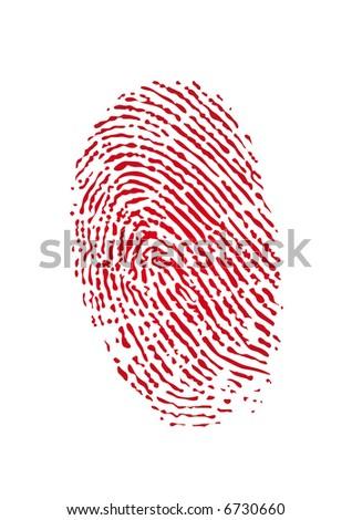 Vector of a bloody fingerprint - stock vector