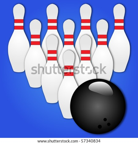 Vector of a bowling ball and pins - stock vector
