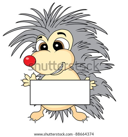 Vector of a cute hedgehog holding a blank sign