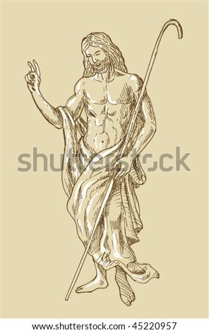 vector of a hand sketched drawing illustration of the Risen Resurrected Jesus Christ standing - stock vector