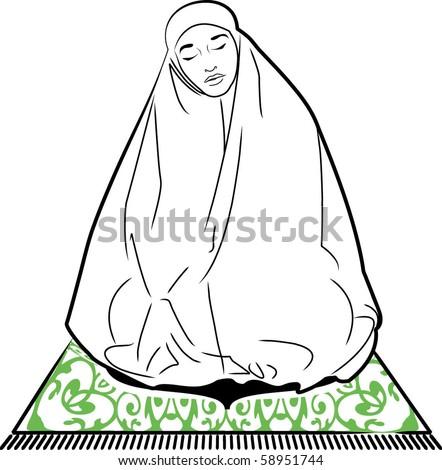 vector of a muslim woman praying - stock vector