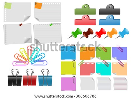 Vector  of a paper sheet , note papers and paperclip  - stock vector