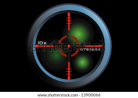vector of a rifle scope sight in nightview - stock vector