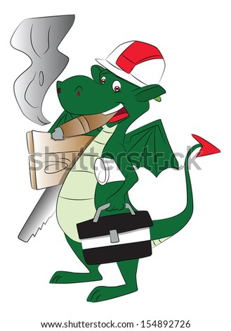 Vector of a smoking fly dragon carrying repairing tools and bag.